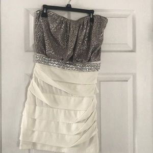 white/silver party dress